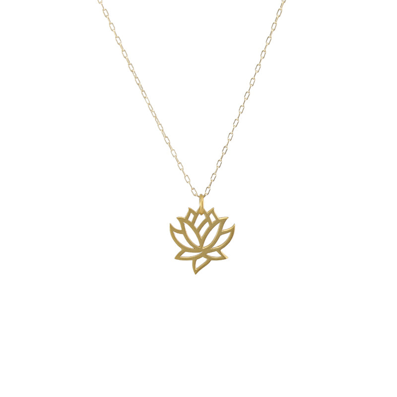 Small lotus flower pendant necklace