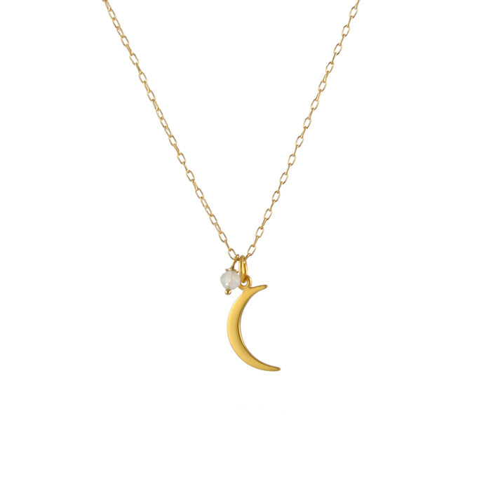 Small moon necklace, gold plate