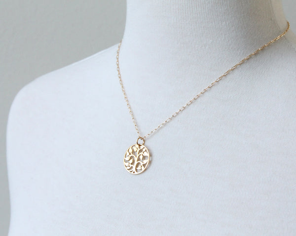 Tree of Life Necklace, gold plate