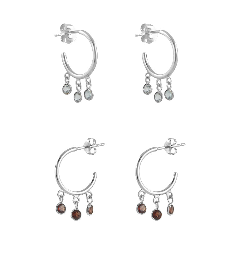 Silver shaker hoop earrings