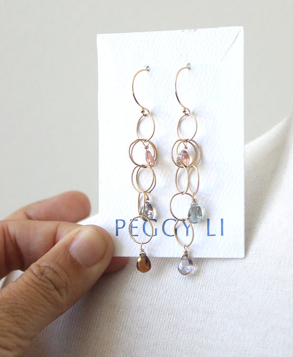 Delicate woven spinel earrings