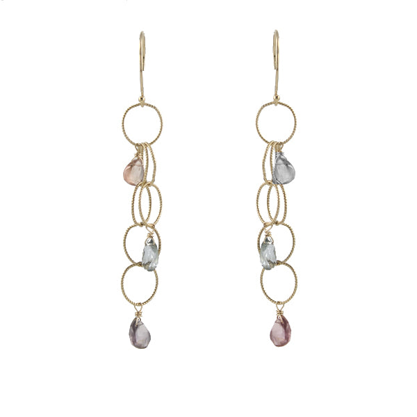 Woven Cascade Gem Earrings