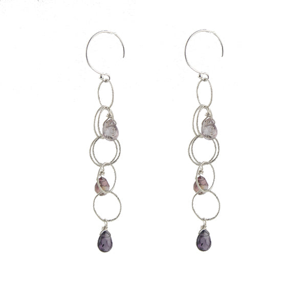 Woven Cascade Gem Earrings sterling silver
