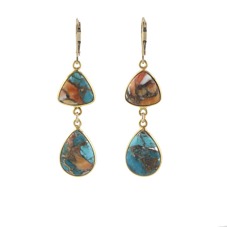 Copper Oyster Turquoise Earrings