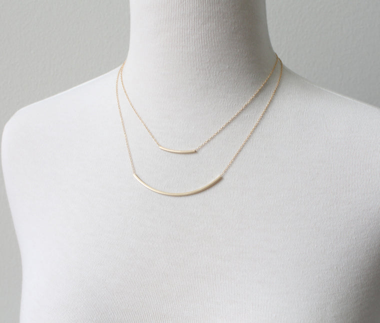 Square Tube Pendant Necklace, large detail
