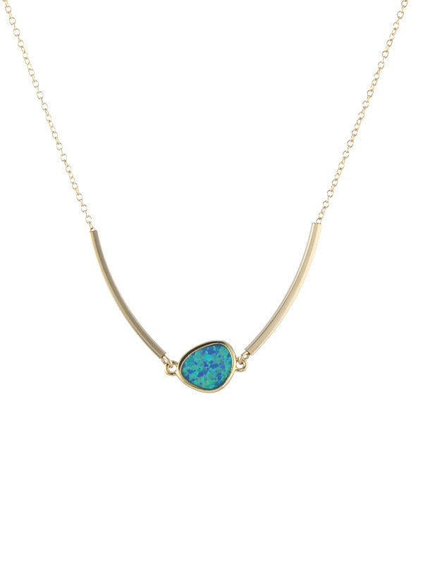 Square Tube and Opal Necklace