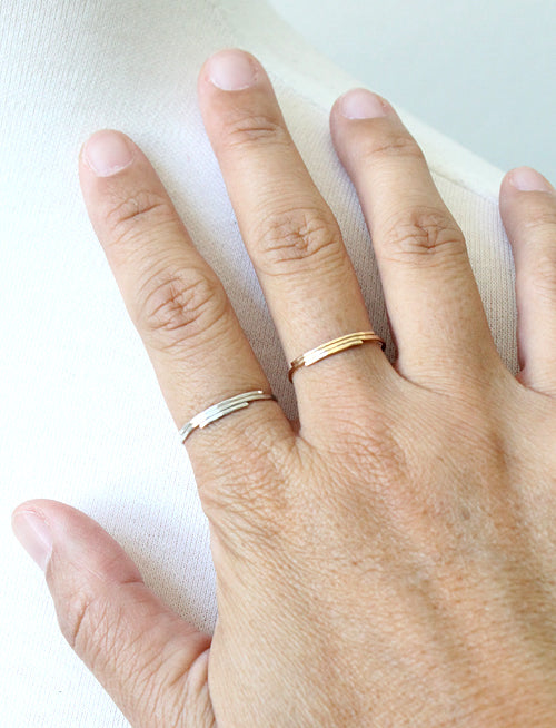 Deco Stacked Rings by Peggy Li