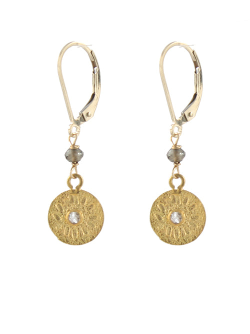 Diamond Sun Disc Earrings gold