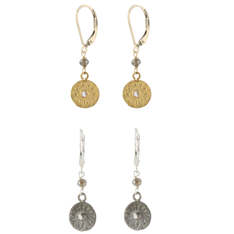 Diamond Sun Disc Earrings
