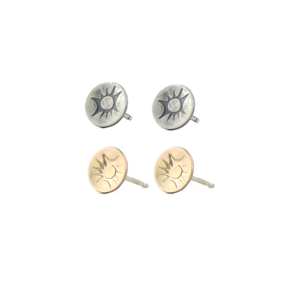 Sunray stamped stud earrings