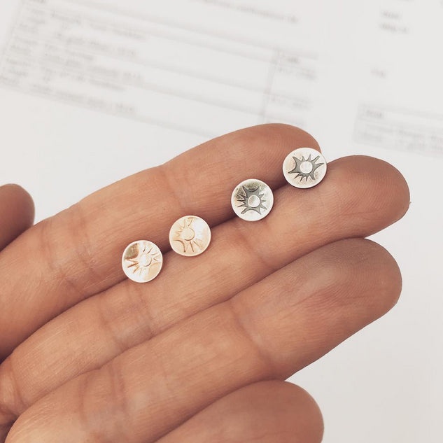 Sunray Stud Earrings, silver and gold