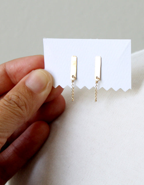 Modern Tab Chain Earrings