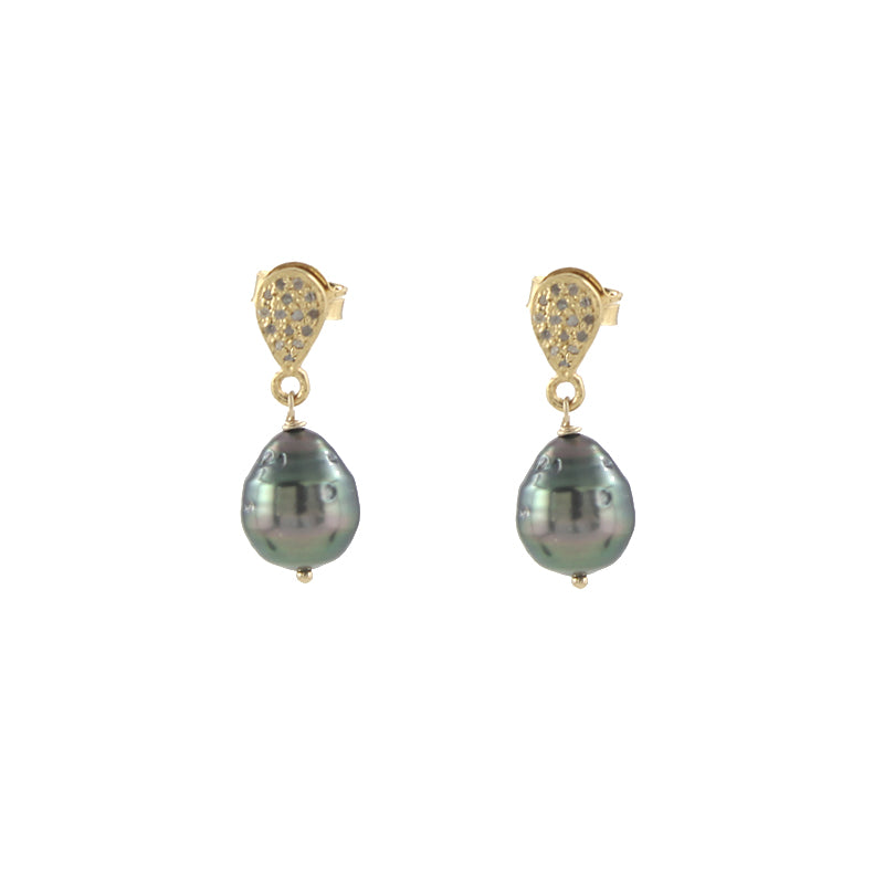 Pave Diamond and Tahitian Pearl Earrings in gold