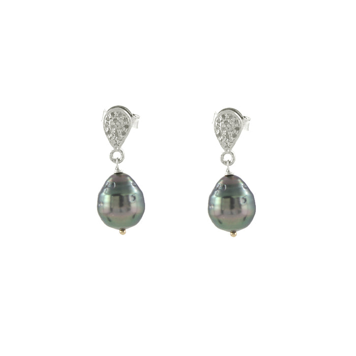 Pave Diamond and Tahitian Pearl Earrings in silver
