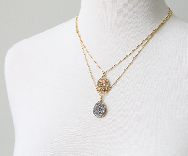 Teardrop Druzy Necklaces by Peggy Li Creations
