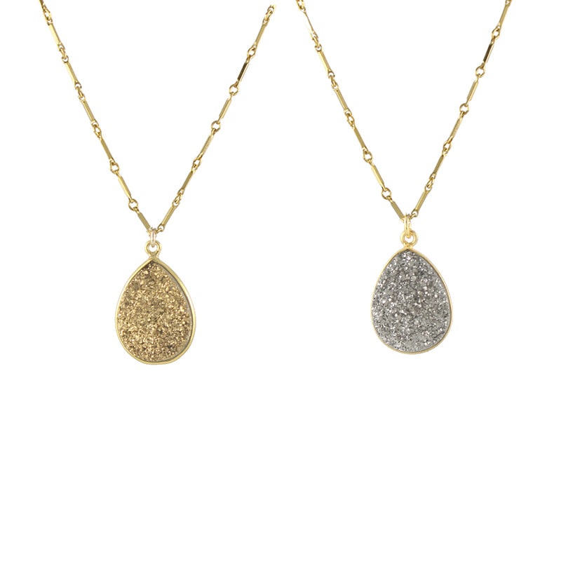 Gold and Silver Druzy Teardrop Pendant Necklaces
