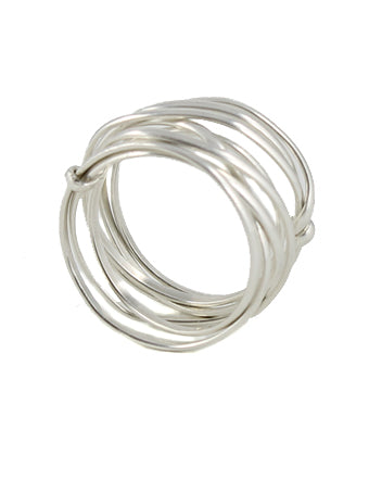 Thick Nested Wire Ring silver