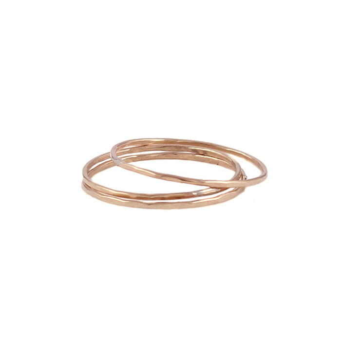 Thin hammered 14k rose gold-filled rings