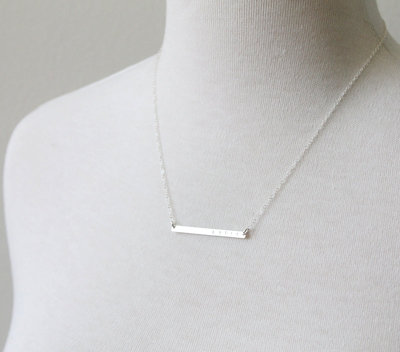 Skinny bar necklace, sterling silver detail