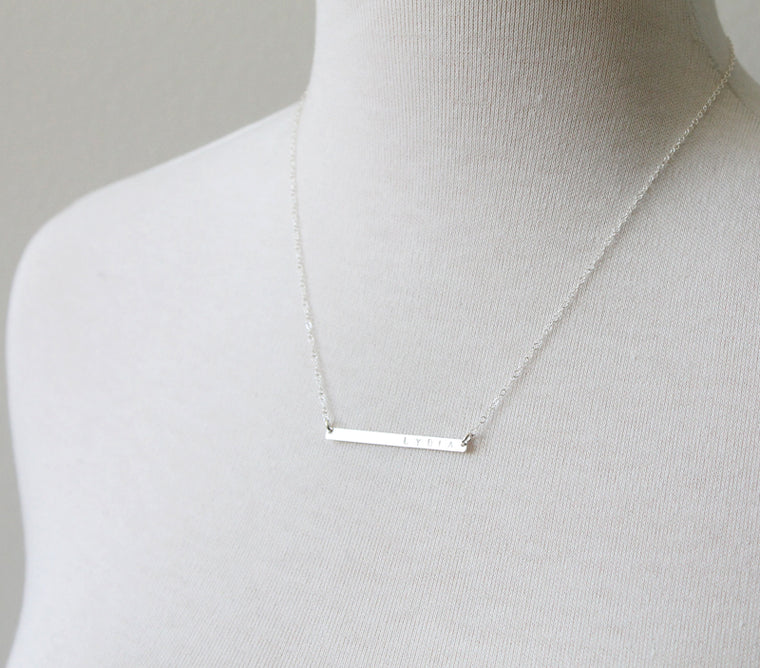 Personalized bar necklace sizes