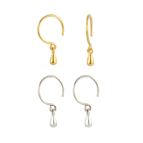 Tiny silver or gold droplet earrings