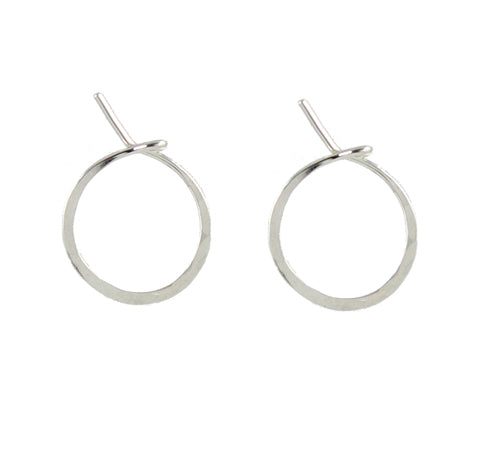 Handmade small silver hoop earrings