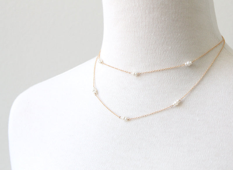Bitty Pearl Chain Necklace, layered