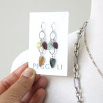 Tourmaline Leaf Earrings, sterling silver