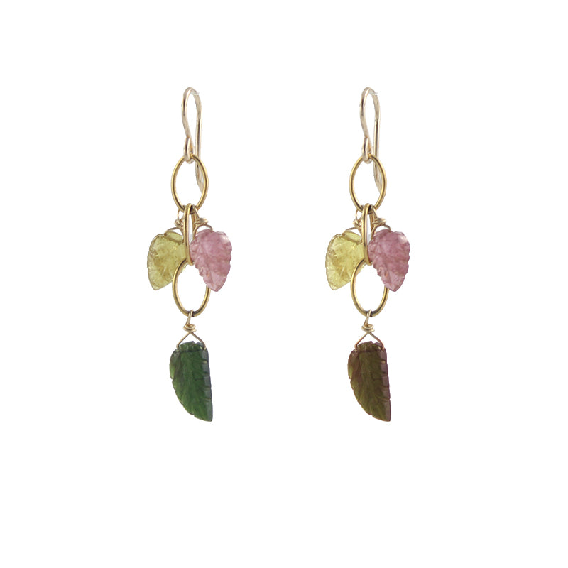 Tourmaline Leaf Earrings