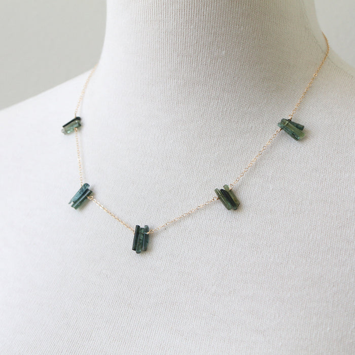 Green Tourmaline Spires Necklace by Peggy Li