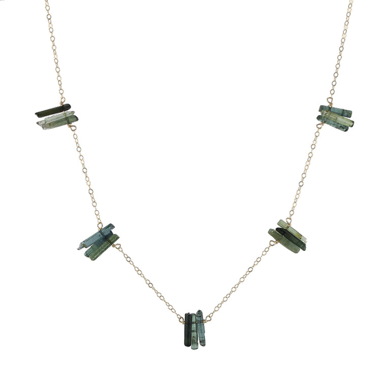 Green Tourmaline Spires Necklace
