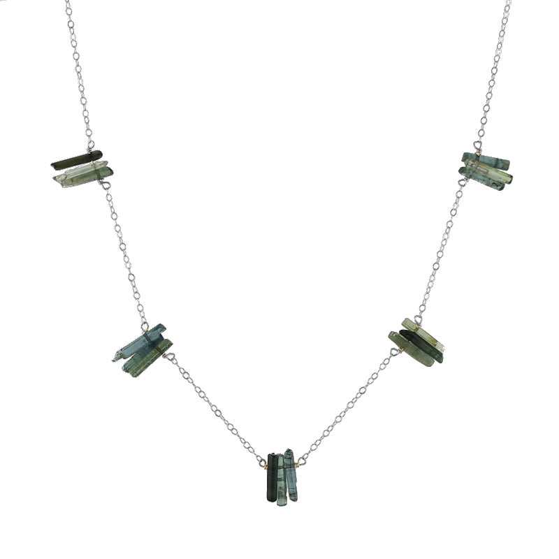 Green Tourmaline Spires Necklace in sterling silver