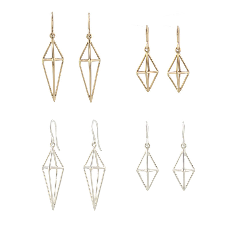 Triangle Cage Earrings bronze