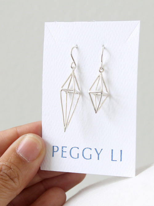 Triangle Cage Earrings sizes
