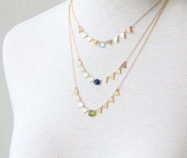 Gemstone Triangles Necklace, colors