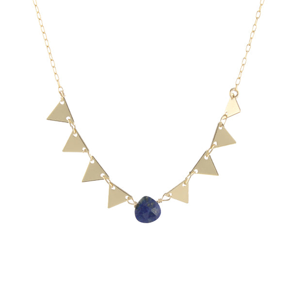 Triangles Gemstone Necklace, lapis