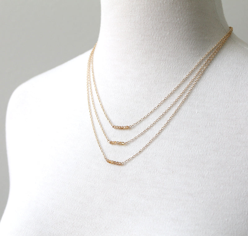 Triple gem slice necklace, gold