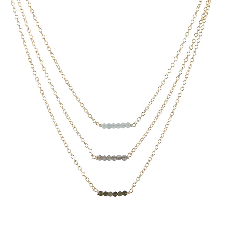 Triple Caviar Gem Necklace
