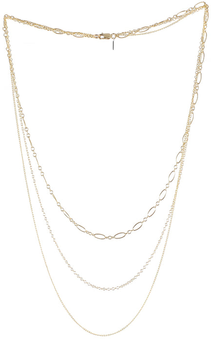 Triple Chain Necklace, gold detail