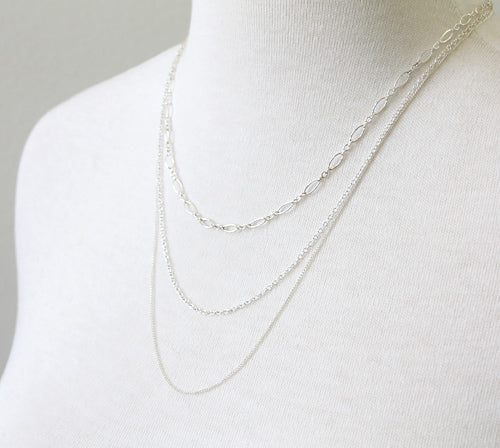 Triple Chain Necklace, sterling silver