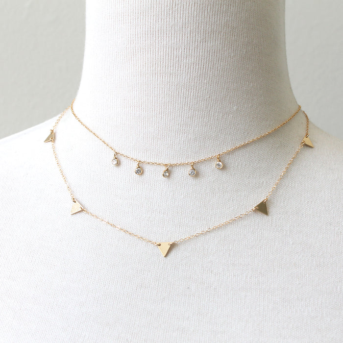 CZ Raindrops Necklace layered