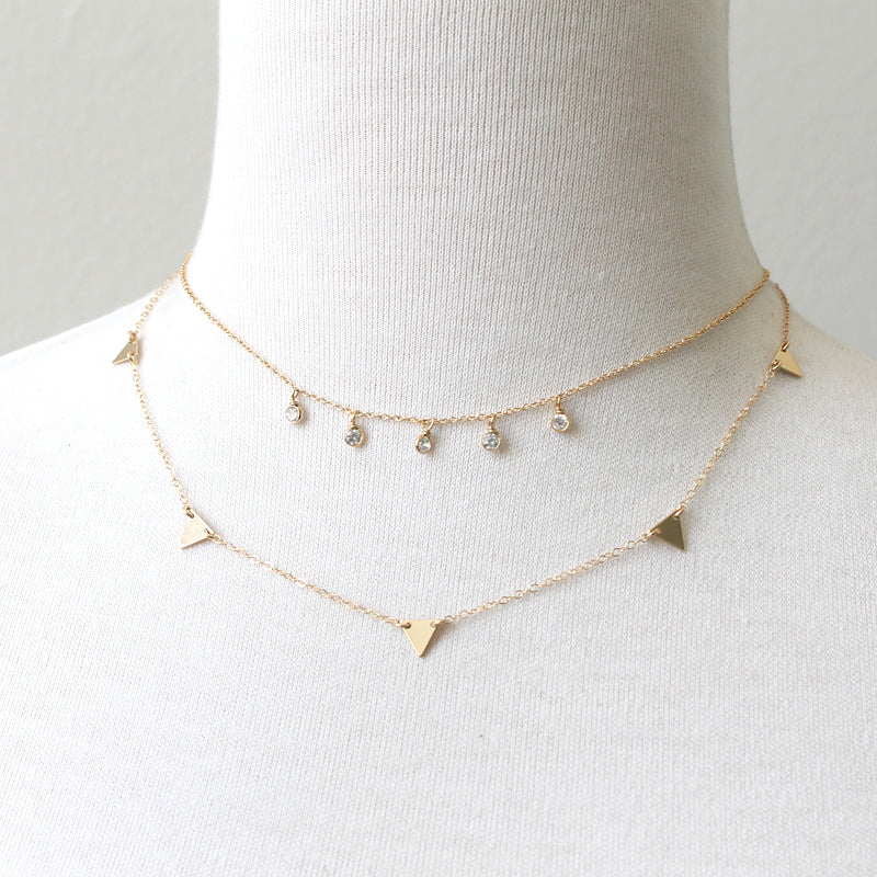 Triangles Chain Necklace gold plate