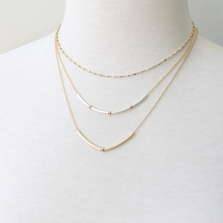 Square tube bead necklace layering