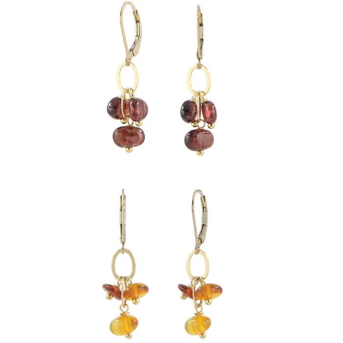 Tumbled garnet or amber earrings