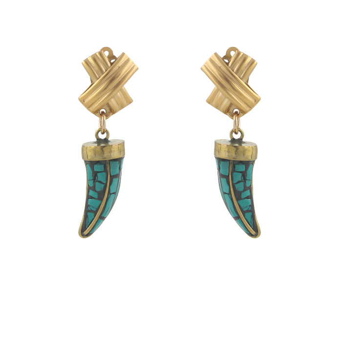 Cross Hatch Tusk Clip On Earrings