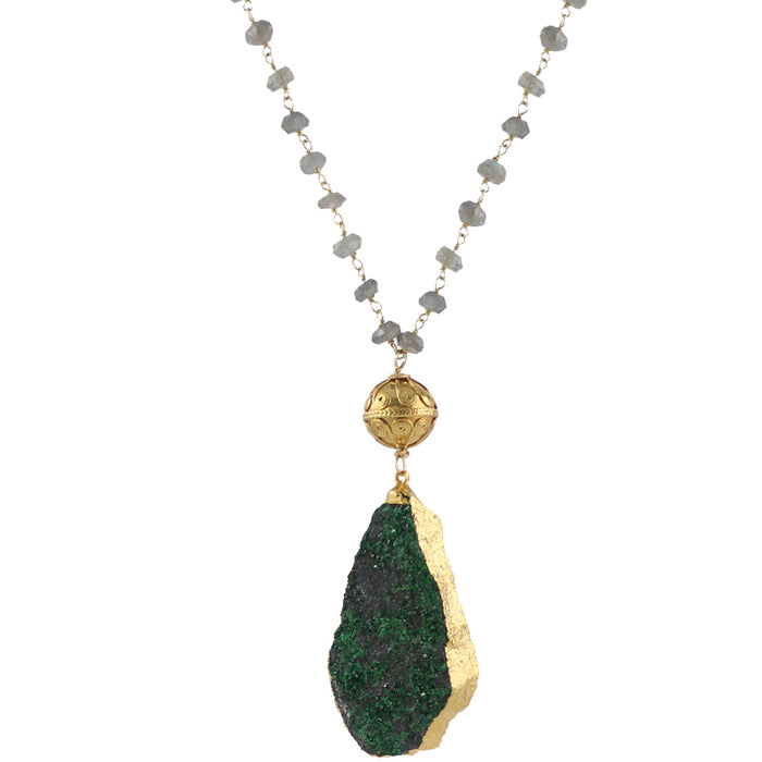 Green garnet druzy necklace