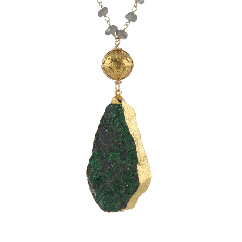 Uvarovite Druzy Pendant Necklace