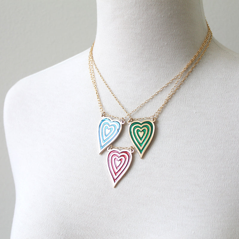 Vintage Stripe Heart Pendants