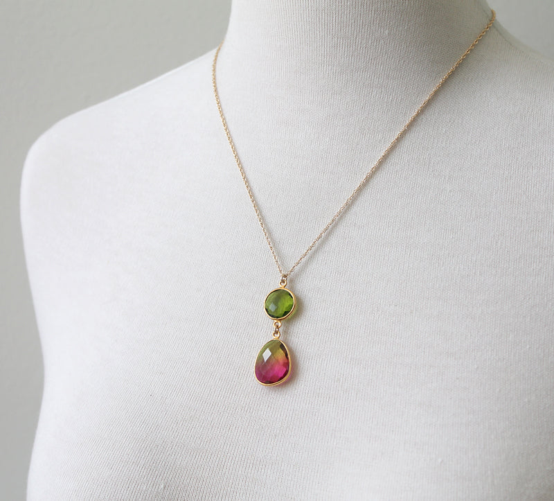 Watermelon crunch necklace, gold