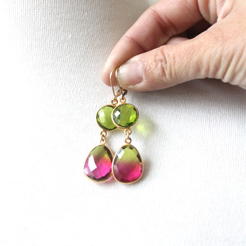 Watermelon Crunch Earrings gold-filled